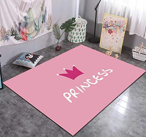 Cartoon Rosa Prinzessin Krone Teppich Mädchen Schlafzimmer Dekoration, Baby Early Education Kleinkind Spiel Spielzeug Teppich 120cmx170cm