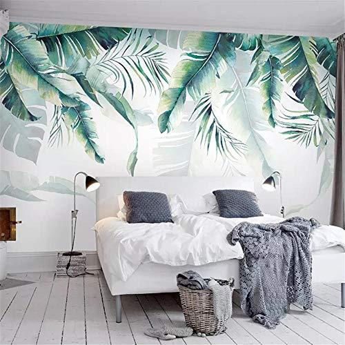 Murales Retro Tropical Rain Forest Palm Plátano Hojas Pintura de Pared Dormitorio Sala de Estar Sofá Papel de Pared 3D-Alrededor de 300 * 210 cm