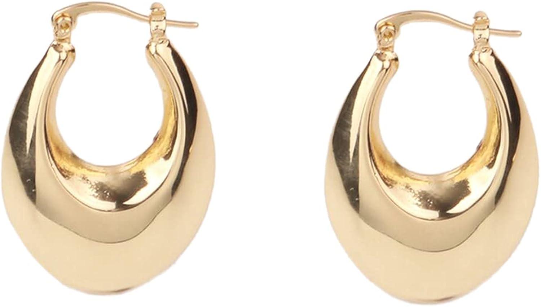 Custom 1 Pair 35x24mm Brass 18K Gold Filled Dainty Hollow Oval Pear U-shape Hoops Earrings Simple Daily Style Brands Factory Wholesale