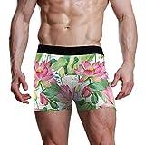 REFFW Estirar el baúl del Boxeador Hermosas Flores de Loto Estanque Hojas Patrón Bolsa de Bulto Calzoncillos para Hombre