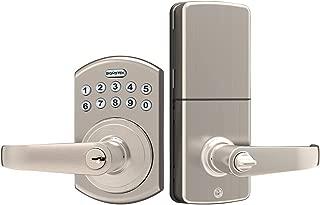 Signstek Keypad Entry Lever Door Lock with LED Backlit Keypad Password/Key Accessibles, Satin Nickel