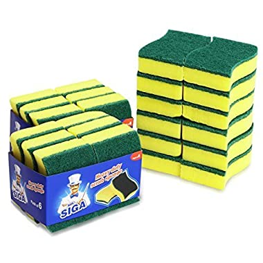 MR.SIGA Heavy Duty Scrub Sponge, 24 Count, Size:11 x 7 x 3cm, 4.3  x 2.8  x 1.2