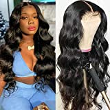 Body Wave Human Hair Wigs - Wet and Wavy Lace Front Wigs Human Hair 4x4 Brazilian Lace Closure Wigs Pre Plucked Bleached Knots Glueless Real Hair Wigs for Black Women 150 Density Natural 14 Inch