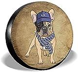 Linus-Store Couverture de Pneu de Rechange Bulldog français Rottweiler Puppy Daomeng Cartoon Dog Wheel Covers-J476