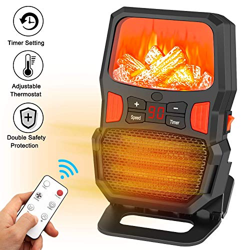 Space Heater, Taiker 1000W Portable Personal Heater with Remote Control Adjustable Thermostat Over-Heat & Tip-Over Protection for Home and Office