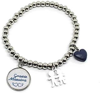 """Bracciale elastico perle acciaio ciondolo""""Grazie Maestra"""" e charms"""