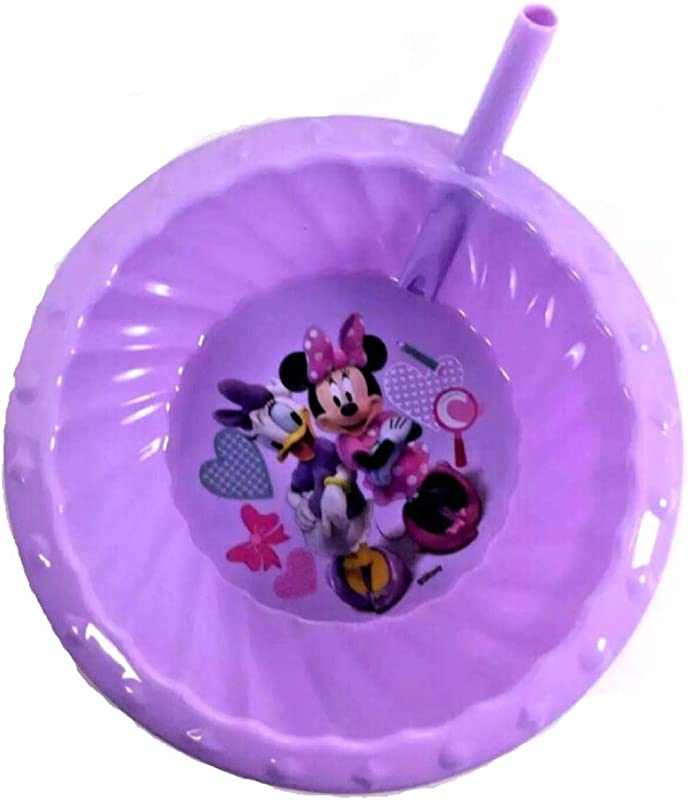 Zak Designs Minnie Mouse And Daisy Duck Children S Sipper Cereal Bowl With Straw Lavender