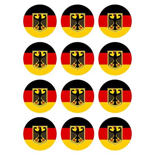 Generisch 12 Stück Aufkleber Bundesadler Deutschland Flagge Rund 4 cm | Germany Flag | wetterfest & UV Schutz | Set