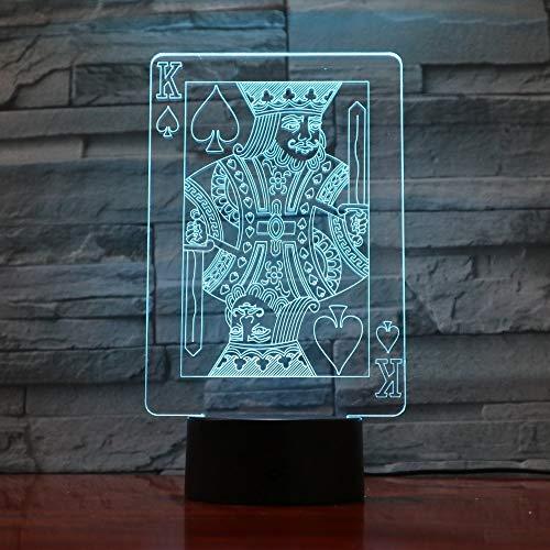 RMRM 3D Lampes 3D LED Décor À La Maison D'ambiance D'ambiance Lampe Touch Poker Card Rouge Coeurs K NightLight Coloré Gradient Club Décor Atmosphère Lampe De Table Cadeau