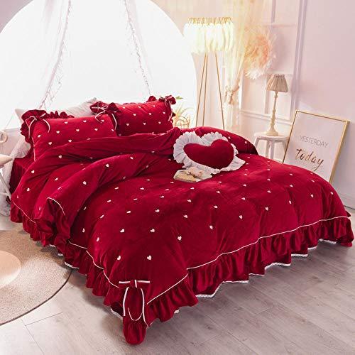 juegos de sábanas de 106-Invierno de doble cara de lana calidez de cristal grueso terciopelo franela funda nórdica cama individual funda de almohada individual regalo-S._Cama de 2,0 m (4 piezas)