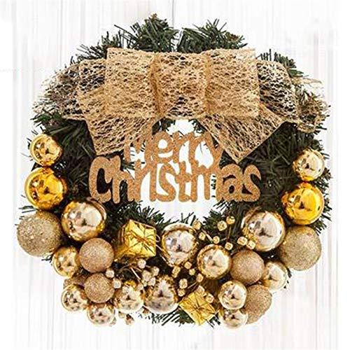Wreath Lin Christmas, Golden Christmas Ball, Bow Christmas Decoration Teng Ring Door Hanging Festive (Size: 50CM, 60CM) (Size : 50CM)