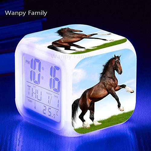 ShiyueNB Aanbieding paard wekker 7 kleuren lichtgevende LED groot beeld multifunctionele digitale wekker presenteert kinderen verjaardagscadeau