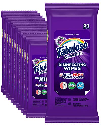 Fabuloso Complete Wipes, Lavender, 24 Count, Pack of of 12