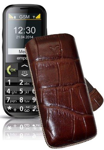 Original Suncase Tasche für / Emporia C160 emporiaECO / Leder Etui Handytasche Ledertasche Schutzhülle Hülle Hülle Lasche mit Rückzugfunktion* In Croco-Braun