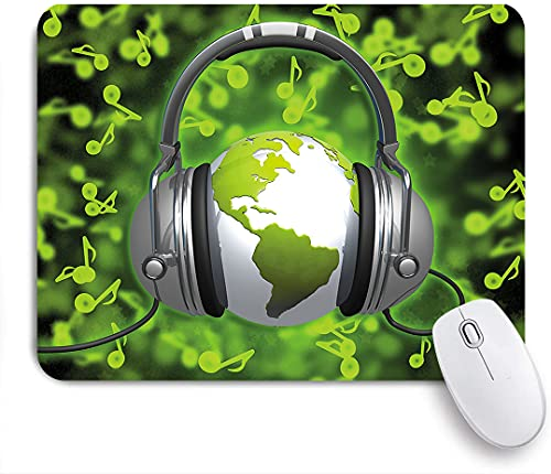 XWJZXS Mouse Mat?World of Music Themed Composition DJ Headphones Musical Notes and Earth Globe?for Office home and Gaming Mousepad Non-Slip Rubber Base