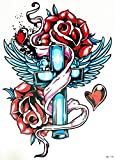 PARITA Big Tattoos Temporary Waterproof Crosses Skull Angel Wings Roses Cartoon Fantasy Tattoo Fake Body Chest Shoulder Arm Leg Stickers Tattoos Fun Party for Man Women (1 Sheet.) (03)