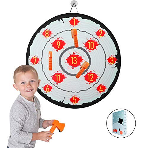 "Axe Throwing Game 28"" Dart Board for Kids Target Shooting Game with 1 Safe Dartboard 4 Foam Axes 1 Score Sheet for Teens Indoor Outdoor Play"