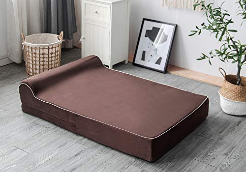 7-inch Thick High Grade Orthopedic Memory Foam Dog Bed With Pillow and Easy to Wash Removable Cover with Anti-Slip Bottom. Free Waterproof Liner Included - XL for Large Dogs - Brown