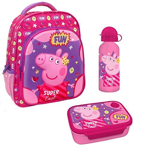Familando Rucksack-Set Peppa Pig Peppa Wutz Happy Rosa / Pink 3tlg. mit Brotdose und Trinkflasche z.B. für den Kindergarten / Krippe