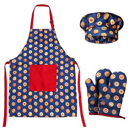 RISEBRITE Kids Apron and Chef Hat Set with Two Oven Mitts for Girls and Boys for Cooking and Baking — Blue Cookies