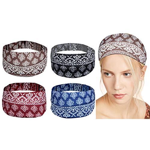 CACAZI 4 STÜCKE Frauen Boho Stirnband Mode Dekorativ Elastisches Yoga Haarband-Training Haarband