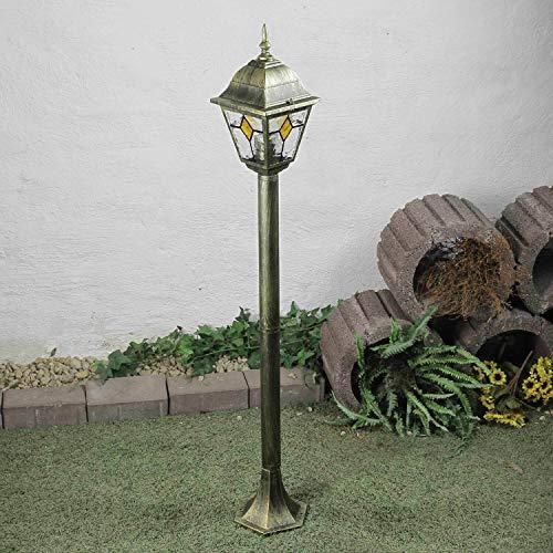 *Rustikale Wegleuchte Garten Buntglas Element H:1,03m E27 Außen Stehlampe Gold Antik Hof Terrasse*