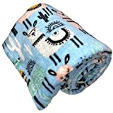 JustHome Fun Print Soft Cozy Lightweight 50 x 60 Fleece Throw Blanket (White with Llamas and Cactus)