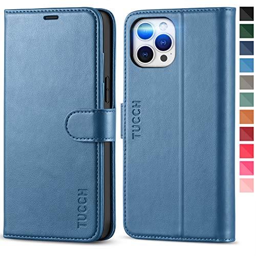 TUCCH Funda iPhone 12 Pro Max, Funda Libro Protectora con Bloqueo RFID, Carcasa TPU, Soporte Plegable,Ranura para Tarjeta,Cierre Magnético, Funda de Cuero PU para iPhone 12 Pro Max (6.7''), Az