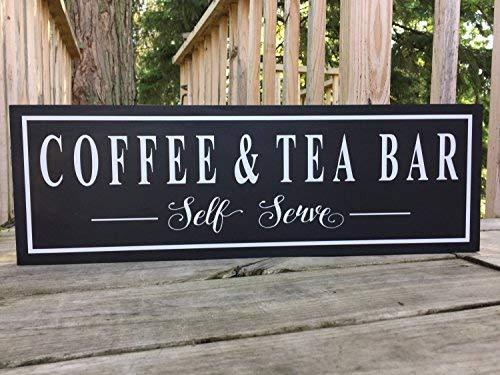 MarthaFox 20x56cm, Wood Plaque Coffee and Tea Bar Sign Coffee and Tea Sign Coffee and Tea Bar Farmhouse Decor Coffee Sign Coffee Lovers Gift Tea Lover Gift 8x22 CB 636816