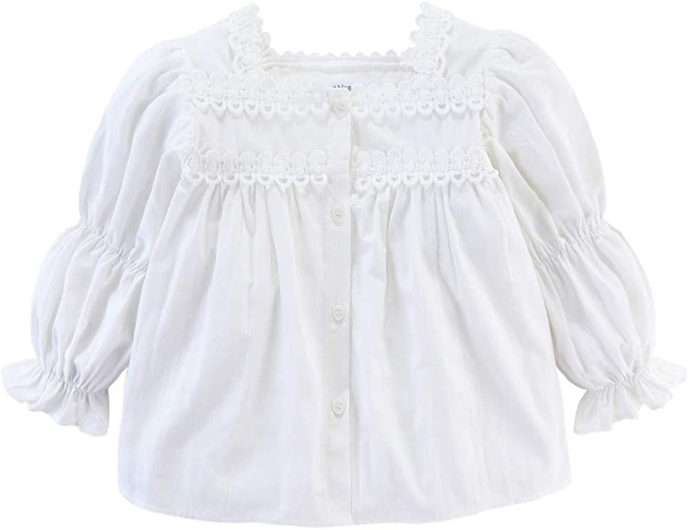 Mud Kingdom Boutique Button Down Girl Blouse Lace Smocked Long Sleeve