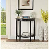 Console Sofa Table, HABITRIO Half Moon Design Solid MDF with Pine Wood Leg Structure 2-Tier Storage Open Shelf, Entryway/Hallway Table for Living Room (Black)