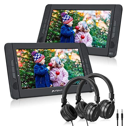Pumpkin Double Ecrans d'Appui tête Lecteur DVD Portable Voiture(Un Lecteur DVD et Un Moniteur) 10,1 Pouce Autonomie de 5 Heures supporte USB SD MMC avec Sangles de Fixation Equipe Ecouteur