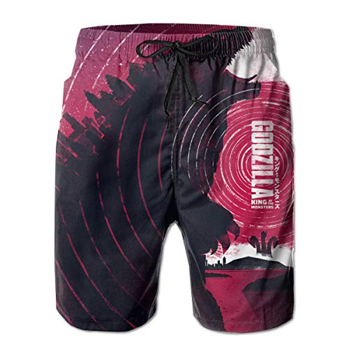 Godzilla 2 King of The Mon-Sters Herren 3D Bedruckte Strandshorts und Pocket Shorts Shorts Badehose Quick Dry