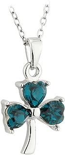 Crystal Shamrock Necklace Rhodium Plated Made in Ireland