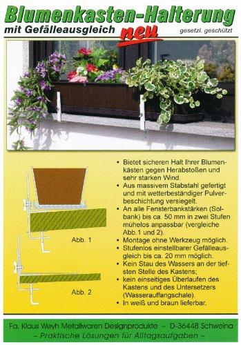 Klaus Weyh Metallwaren Designprodukte / Entwicklung - Herstellung - Verkauf Blumenkastenhalterung mit Gefälleausgleich, weiß