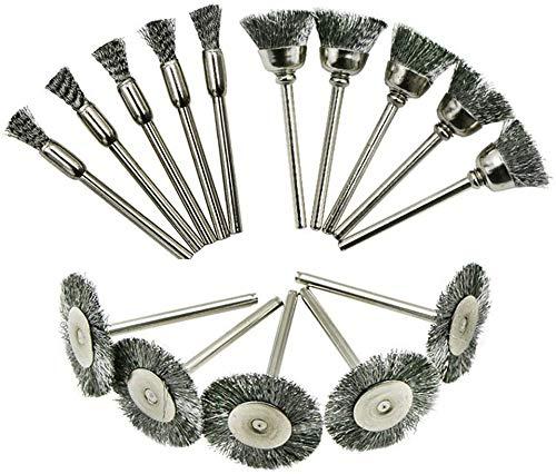 JPYH-EU Cepillos metálicos, 30 Piezas Cepillo de Rueda de Alambre, Conjunto de rueda de cepillo de Acero para excepto el óxido pulido y amolado herramienta rotativa