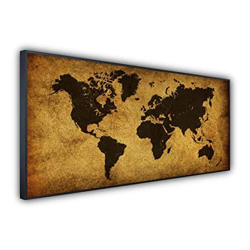 STEINFELD Heizsysteme® Glas Bild Infrarotheizung   Deutscher Hersteller   viele Motive 350-1200 Watt Rahmen schwarz (750 Watt, 009 Weltkarte)