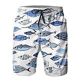 Yesliy Acuario Blue Fish Pantalones Cortos de los Hombres Troncos Casual Playa de Secado Rápido Junta Casual Home Shorts