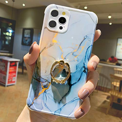 """Anynve Designed for iPhone 12 Pro Max Marble Case Trendy Cute for Women Girls with 360 Degree Rotating Ring Kickstand, Shockproof Corners+Hard Back+Soft TPU Bumper Cover Case 6.7""""-Blue"""