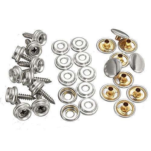 WenJ DIY Supplies 30pcs Snap-Copper & StainlessSteel 15mm for Boots-Persenning, Wohnwagen, Lederjacken, Handtaschen, Kleidung, Straps Autozubehör 10 Sets