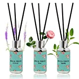 Reed Diffuser Set of 3, binca vidou Lavender, Rose, Vanilla Fragrance Reed Oil Diffuser Set with Rattan Reeds...