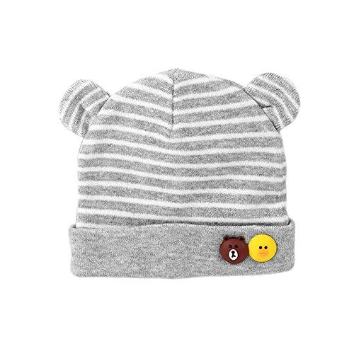 JUNGEN Bonnet Tricoté de Coton Crochet Casquettes de Bande avec Petites Oreilles en Automne et Hiver pour Bébés 0-8Mois