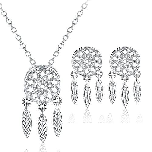 collar Plata De Ley 925 2 Unids / Set Estilo Pluma Atrapasueños Conjuntos De Joyas Collar Colgante Para Regalo De Mujer