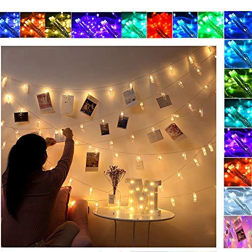 Lucine Led Decorative Porta Foto Polaroid Luci con Mollette per Foto Ghirlanda Natalizia Natalizie Natale Catena Luminosa Esterno Interni Decorazioni Matrimonio Compleanno per Camere (40 Led)