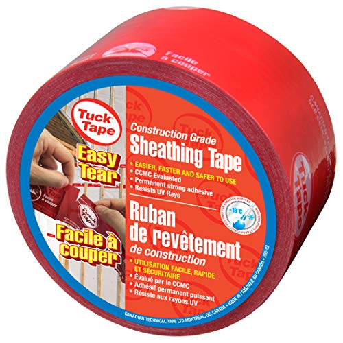 Tuck Tape Construction Sheathing Tape, Epoxy Resin Tape, 2.4 in x 216 ft (Red) Easy Tear