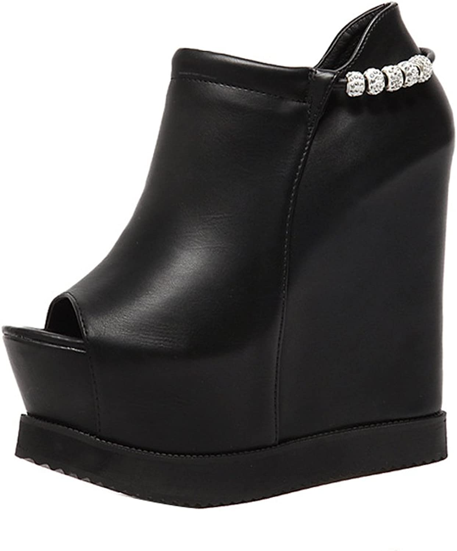 Ladola Womens Platform Wedges Zip Peep-Toe Urethane Pumps shoes