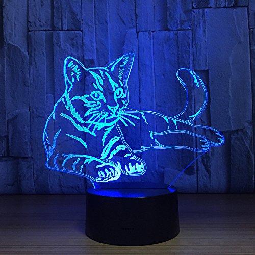 Thosdt - Lámpara de escritorio 3D para gato con luz nocturna, 7 colores, iluminación óptica 3D, con base de acrílico y ABS y cable USB