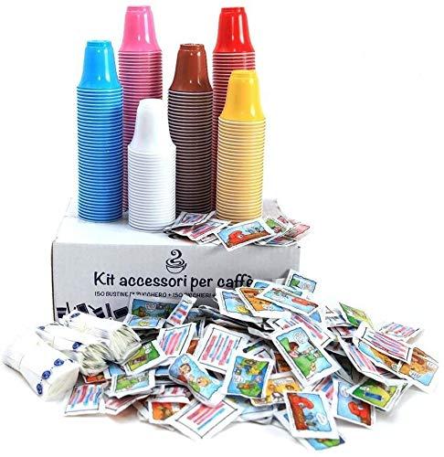 AURACAFFE' Kit Accessori caffè - 600 Bicchieri Colorati per caffè - 600 Bustine di Zucchero Extra Fino - 600 Palette (Kit Cortesia)