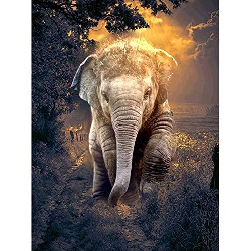 CDNY Elefante de Color-Kit de Pintura de Diamantes-ordado de Mosaico de Diamantes,-Decoración de Pared del Hogar,40x50cm