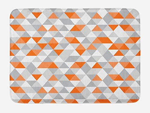 Geometric Bath Mat, Triangles Argyle Polygon Patterns Vibrant Colors Zigzag Ornament, Plush Bathroom Decor Mat with Non Slip Backing, Orange Salmon